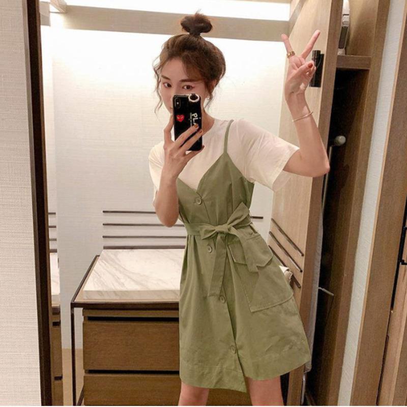 Signore ufficio estate falso 2 Dress collega gli insiemi di donne manica corta Lace Up Due Pezzi vestito casuale allentato Streetwear Abiti Set