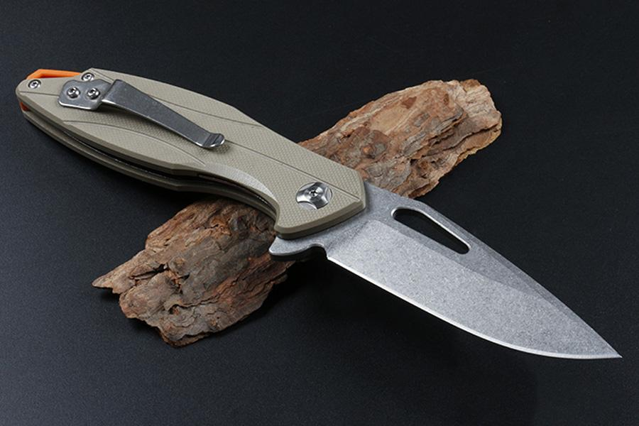 Teniendo Nueva HHY09 bola cuchillo plegable de la aleta D2 Stone Wash punto de la gota de la lámina de arena Negro G10 / manija cuchillos de bolsillo plegable al aire libre
