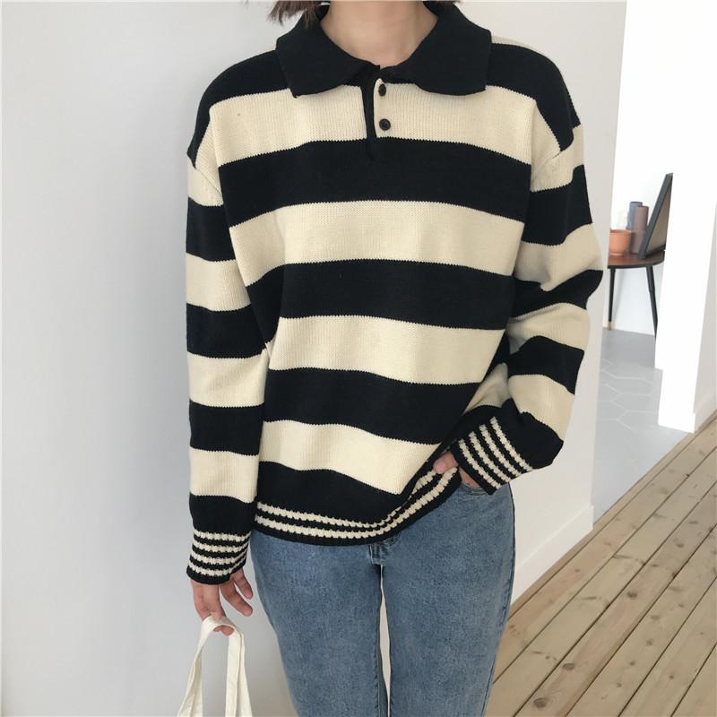 Maglioni di Harajuku Preppy Style Hit Color Stripe Maglione da donna Autunno Colletto rovesciato Maglione lavorato a maglia Maglione da donna sciolto Maglione lavorato a maglia