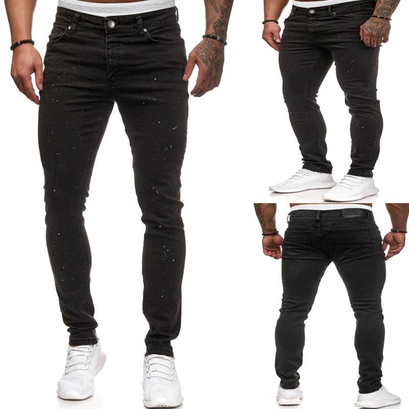 Mens Black Stretch джинсы 2020 Brand New White Dot печати Джинсовые брюки Брюки Повседневный Hip Hop Slim Fit Карандаш джинсы для мужчин S-XXXL