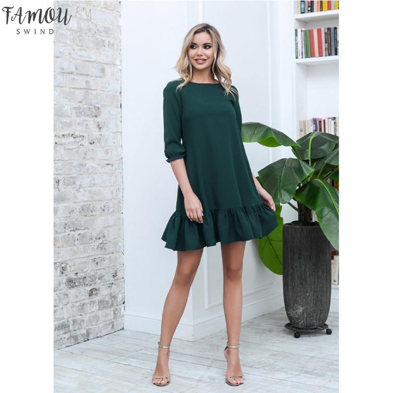 Mulheres Casual Ruffles soltos Mini Vestido Ladies doce meia luva O Neck Sólidos Vestido 2020 vestidos de festa elegante Autumn New Fashion