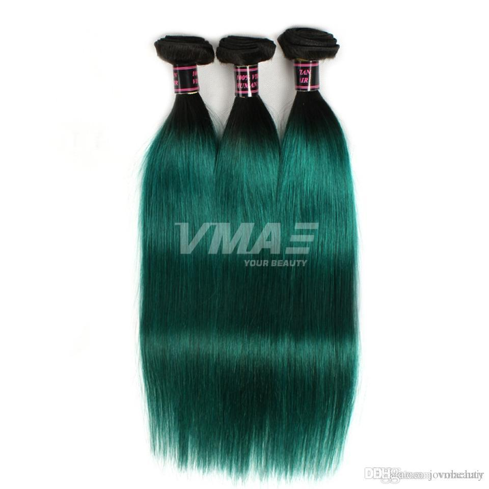 VMAE Brazilian Human Hair Weaves 3 Bundles Natural Soft Straight Weft Two Tone #1B/Green Ombre Color Virgin Hair Extensions