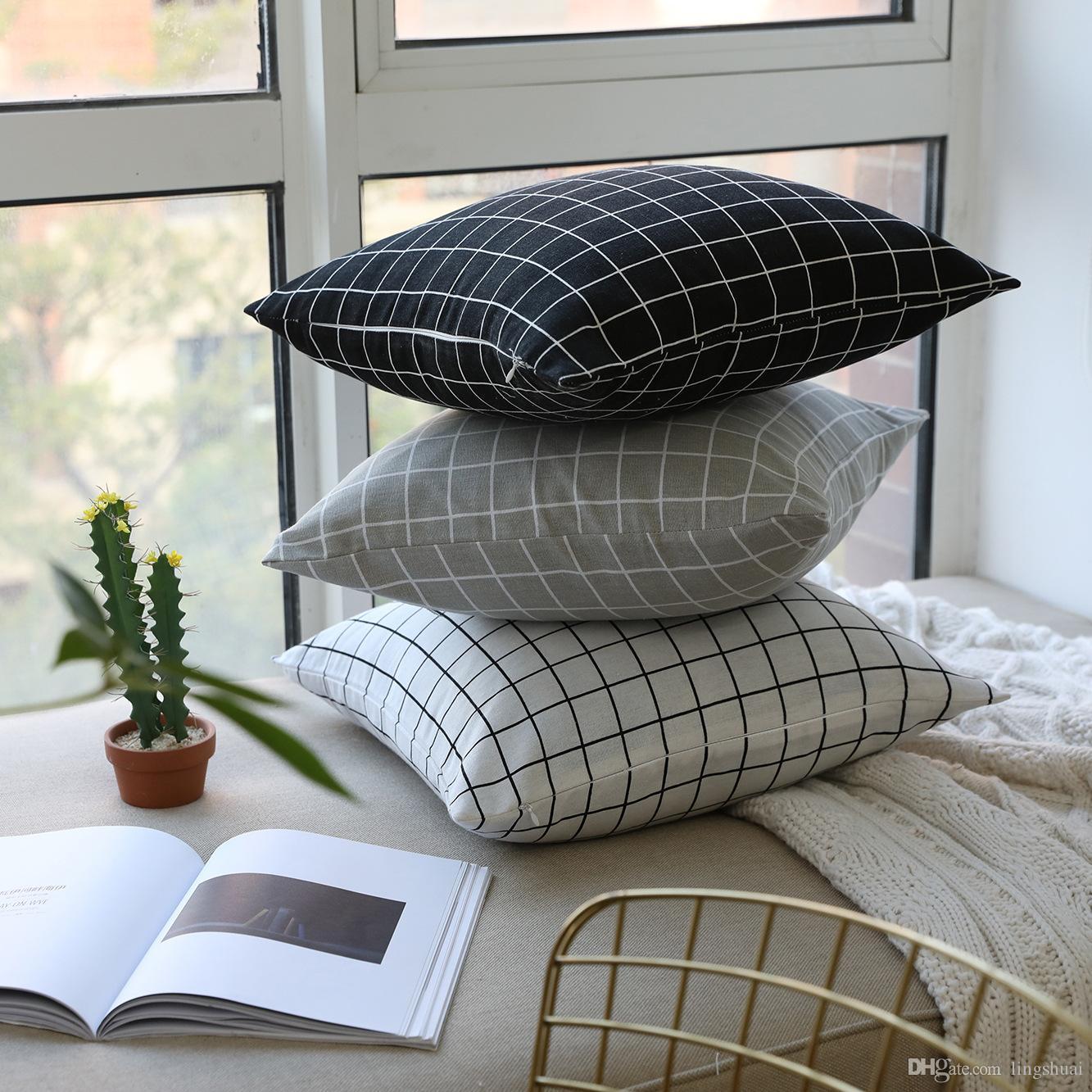 Noir et blanc gris géométrique plaid Housse de coussin taies d'oreiller Coton lin Housses de coussin Canapé 45x45cm et 60x60cm Housse de coussin Pas de garnissage