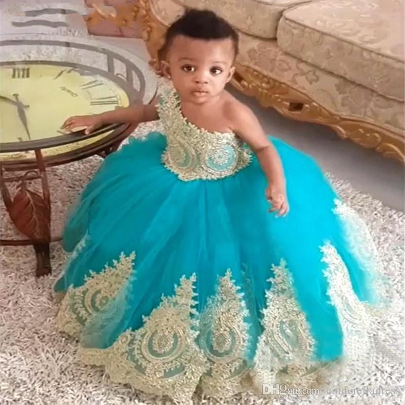 터키석 블루 활 한 어깨 꽃의 소녀 드레스 2020 골드 레이스 볼 가운 어린이 이브닝 가운 여자 영성체 드레스