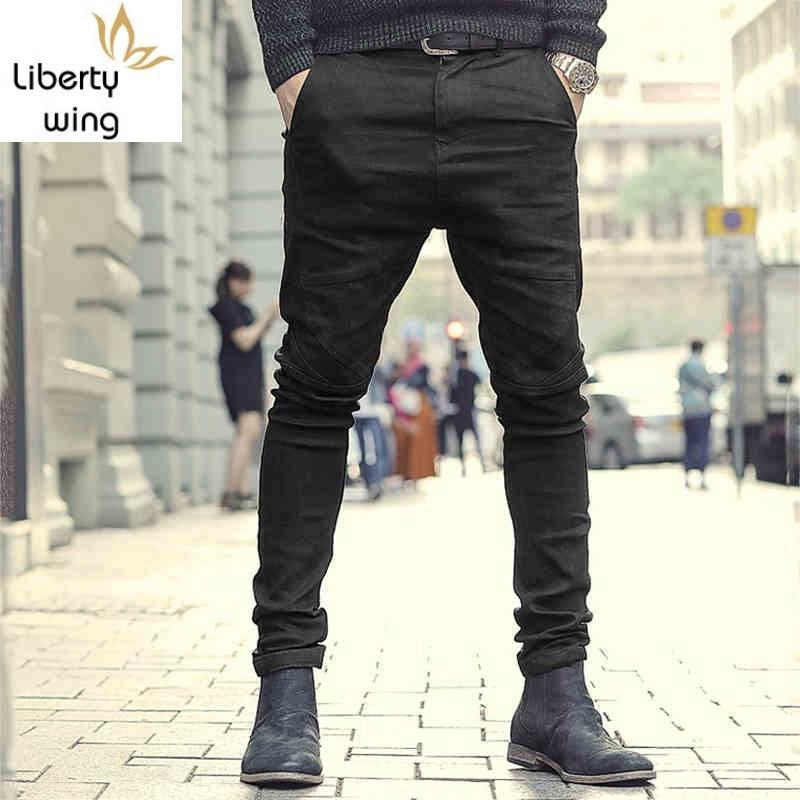 Spring 2020 Stretch Jeans Men Fashion Slim Fit Pencil High Street Black Biker Cargo Pants Casual Zipper Denim Trousers