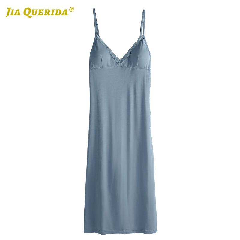 Ночь платье дама рукава Ночь платье Ночного Soft синего Главное платье Мода Стиль Casual Стиль Модальная Летняя одежда Женщина