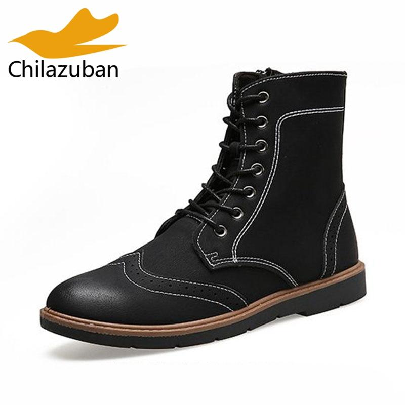 Chilazuban Vintage Men Half Short Boots Lace Up Round Toe Boots Warm Handmade Shoes Man Mid Calf Botas Male Footwear Size 39-4