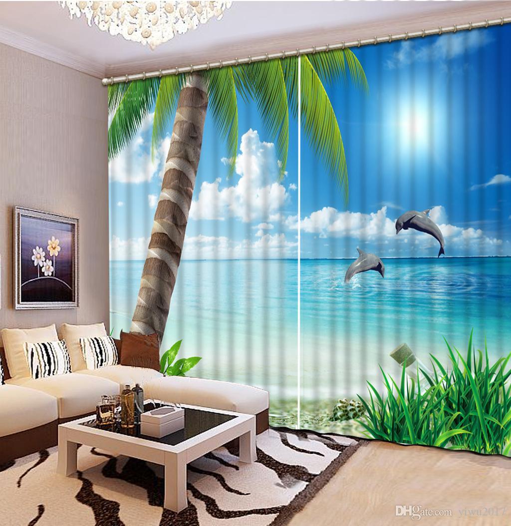 Poisson de mer et arbre de bureau rideau chambre 3D fenêtre rideau salon de luxe décorer Cortina