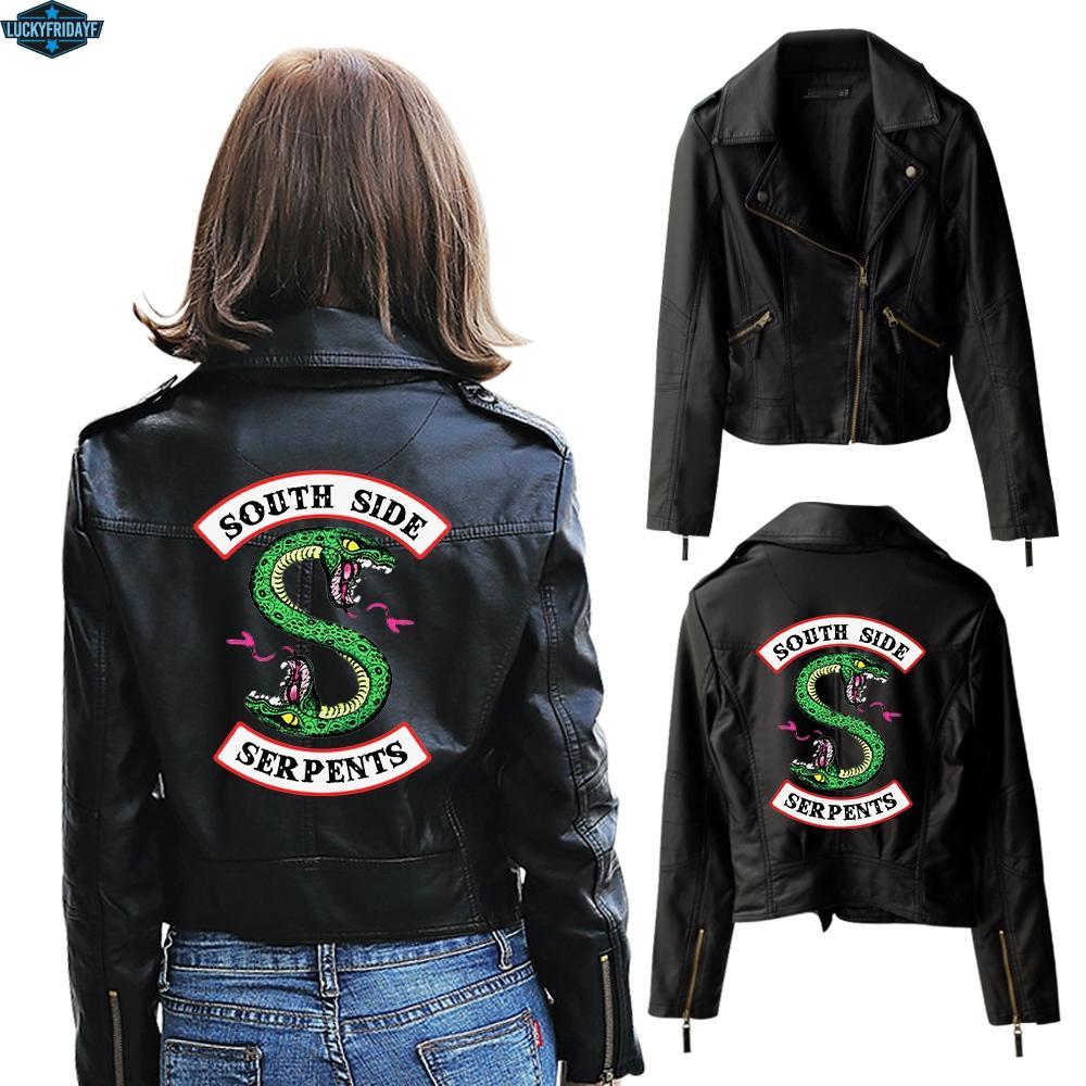 Yeni Riverdale PU Baskılı Logo Southside Riverdale Serpents Ceketler Kadın Serpents Streetwear Deri Ceket