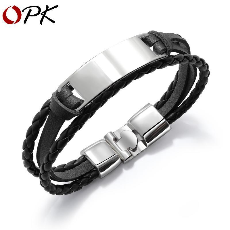, Le simple bracelet des hommes à la mode et polyvalent bracelet en cuir des hommes tissés multi-couches avec lettrage brillant personnalité