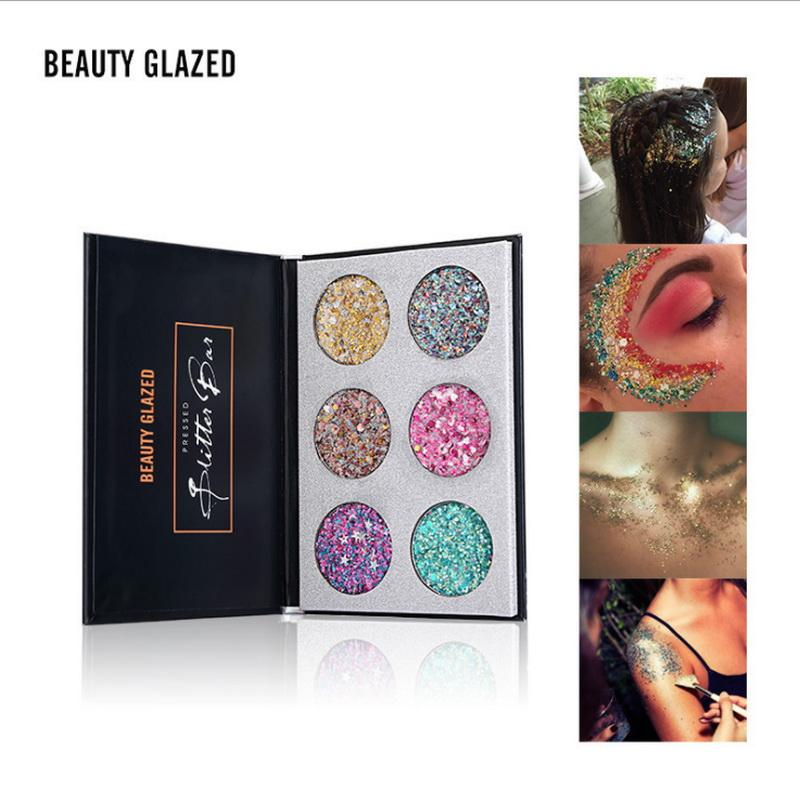 Bellezza smaltata Sequin e scintillio Eye Shadow Palette multi funzione Diamond Shimmer Pressed Makeup Eyeshadow Glitter