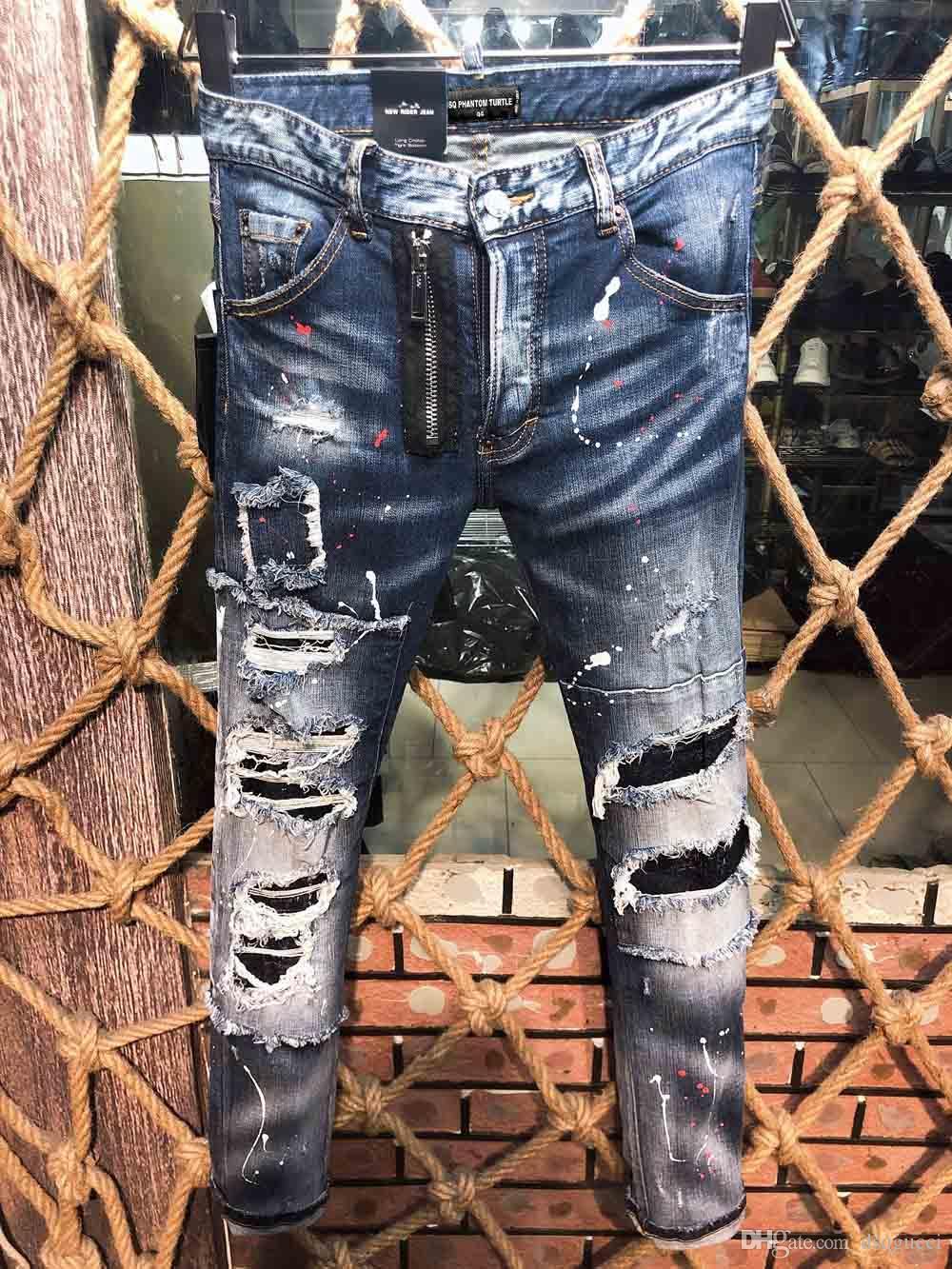 DSQ Phantom Tortue Classic Mode Homme Jeans Hip Hop Rock Moto Hommes Design Casual Design Décontracté Jeans Détoné Skinny Denim Biter Dsq Jeans 6933