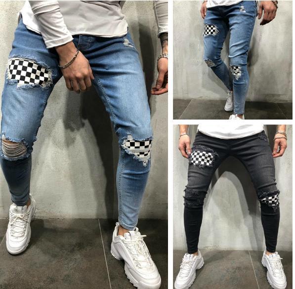 Mens Ginocchio Fori Primavera Autunno Designer Pantalones A Righe Zipper Street Skateboard Skinney Pantaloni Della Matita