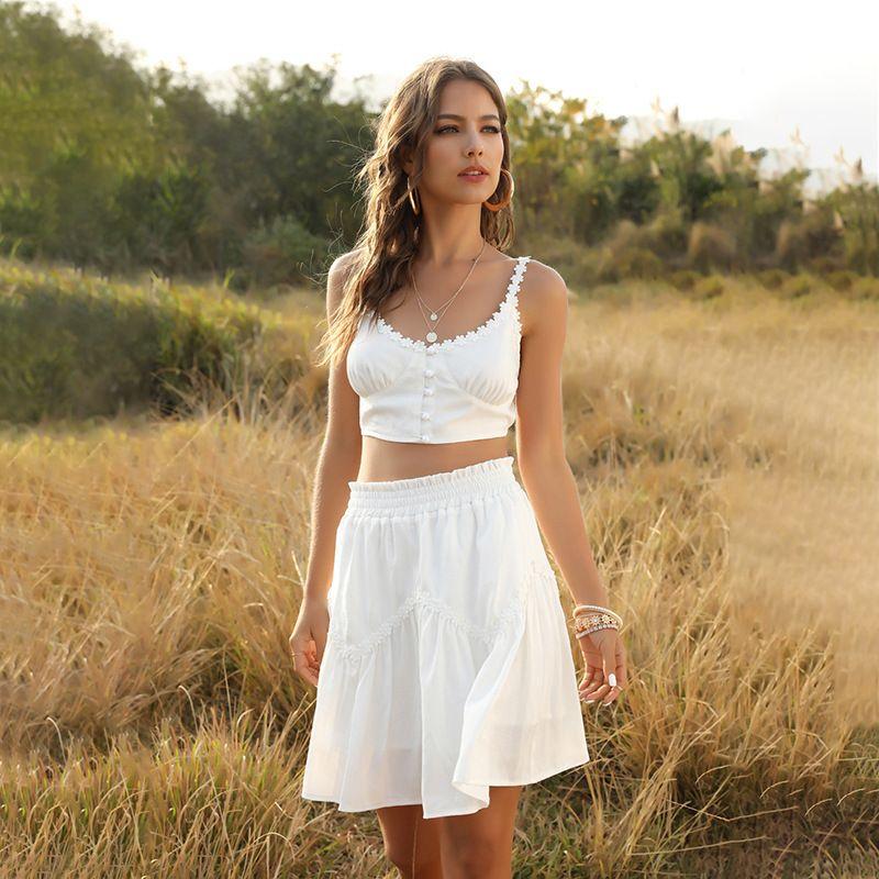 Foridol Bianco Embriodery 2 pezzi Skirt Set donne del tasto Summer Beach Gonne Imposta Floral Ruffle Abiti Donna Outfits Bassiera T200622