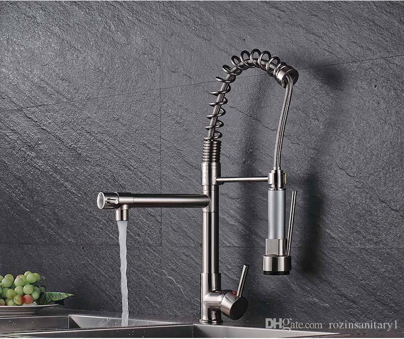 superbe design Europe robinet de cuisine évier à bec rétractable monotrou monté sur le robinet de cuisine chromé
