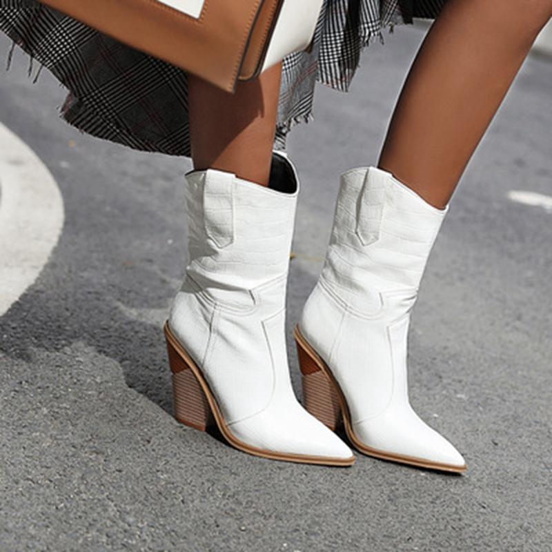 Western Cowboy Boots pour femmes mi-mollet Bottes bout pointu Noir Blanc Jaune Hiver Chaussures Femmes Cowgirl court