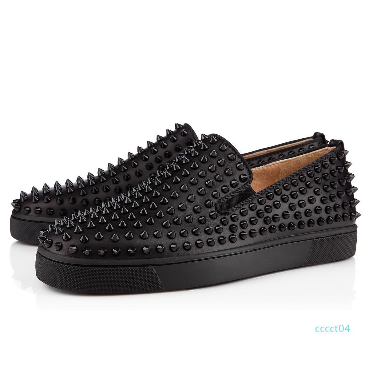 2019 nuevos zapatos de diseñador tachonado Spikes los planos rojos con fondo plano zapatos para hombre de los amantes del partido de las mujeres del cuero genuino tamaño de las zapatillas de deporte 36-46 ct4