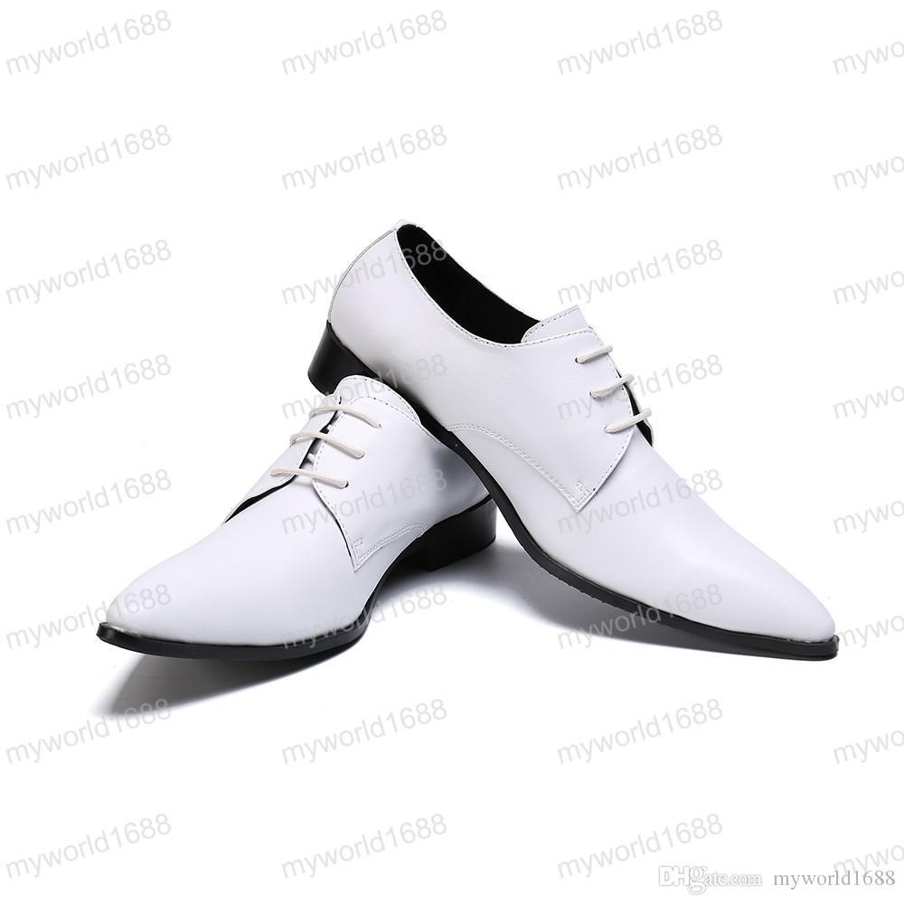Джентльмен Натуральная Кожа Мужчины Оксфорд Обувь Человек Белое Свадебное Платье Обувь Бизнес Офис Острым Носом Броги