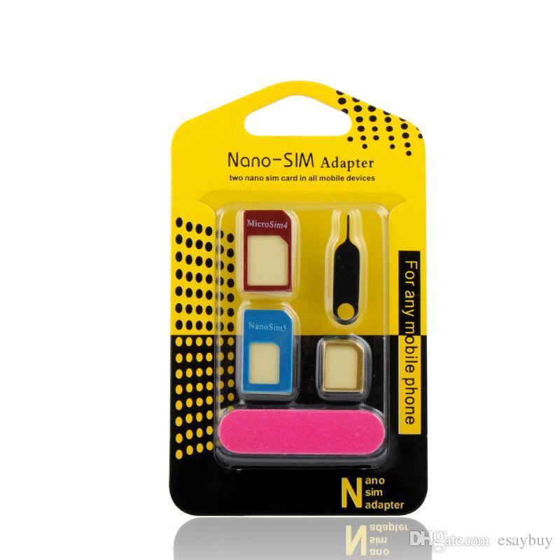 5 in1 adaptador SIM metal de aluminio Nano Sim tarjetas Micro tarjetas de tarjetas estándar para el accesorio del teléfono móvil del teléfono celular para Sams teléfono