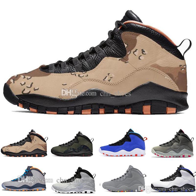 CHAUD 10 Hommes Chaussures De Basketball Fumé Gris Foncé Tinker Cement Westbrook Desert Camo Cool Gris 10s Hommes Sport Sneakers Taille 7-13