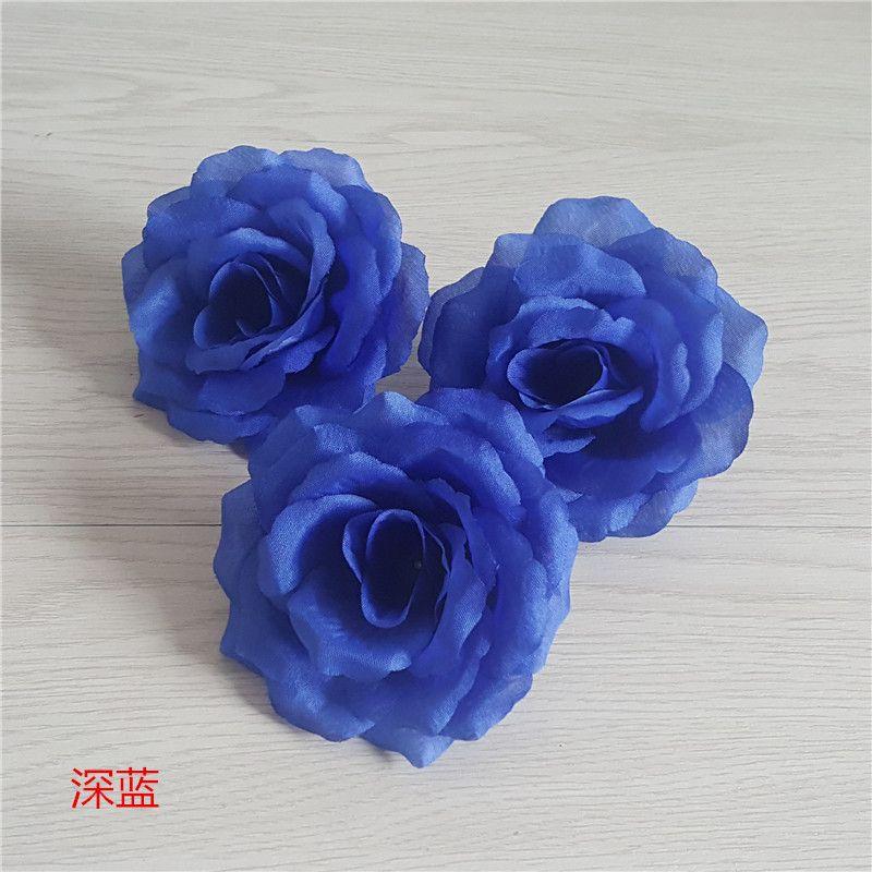 10PCS Large 10CM Royal Blue Artificial Silk Roses Flower Head for Wedding Decoration DIY Rose Bear Deep Blue Fake Flowers Flores