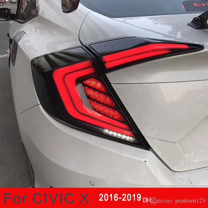 Honda Civic Taillights Için Araba Styling 2016-2019 Civic LED Kuyruk Lambası + Dönüş Sinyali + Fren + Ters LED Işık Oto Aksesuarları