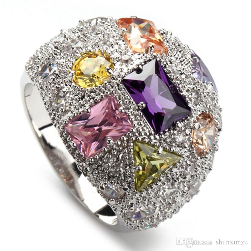 Shunxunze Noble Generous Big Engagement Ringar Smycken för Kvinnor Dropshipping Morganite Rosa Blå Gul Kubik Zirconia Rhodin Plated R408