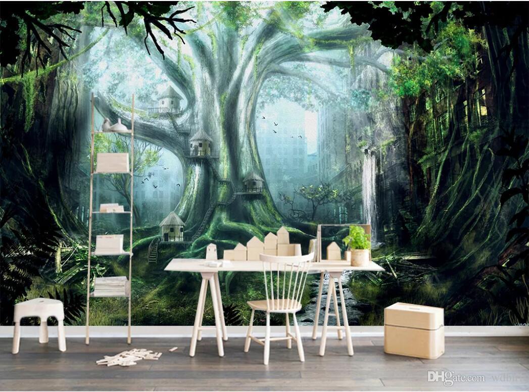 3d обои на заказ фотообои Зеленые леса подмигивая 3D пейзаж ТВ фон стены home decor wall art pictures обои для стен 3 d