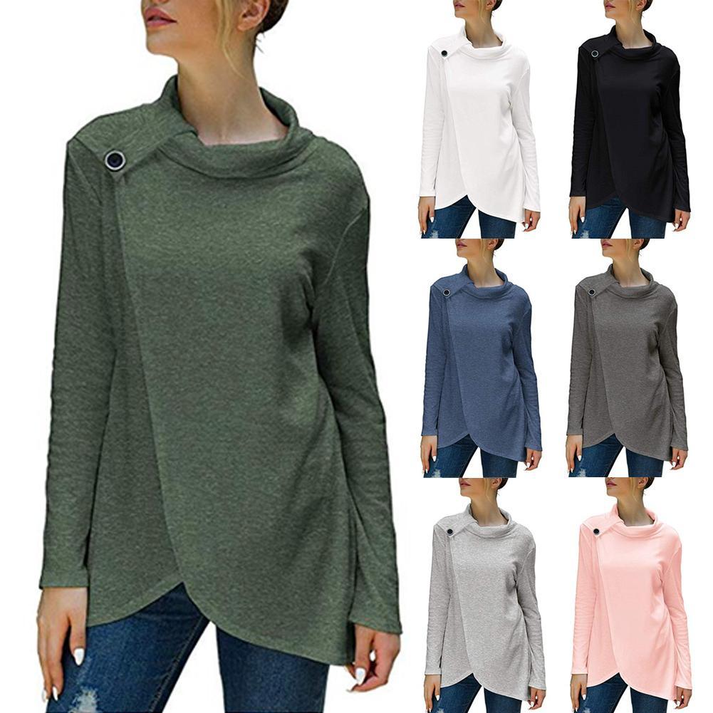 Женщины Сплошной цвет с длинным рукавом Heap Воротник Кнопка Декор пуловер Сыпучие свитер 2020 новых женщин Clothesing