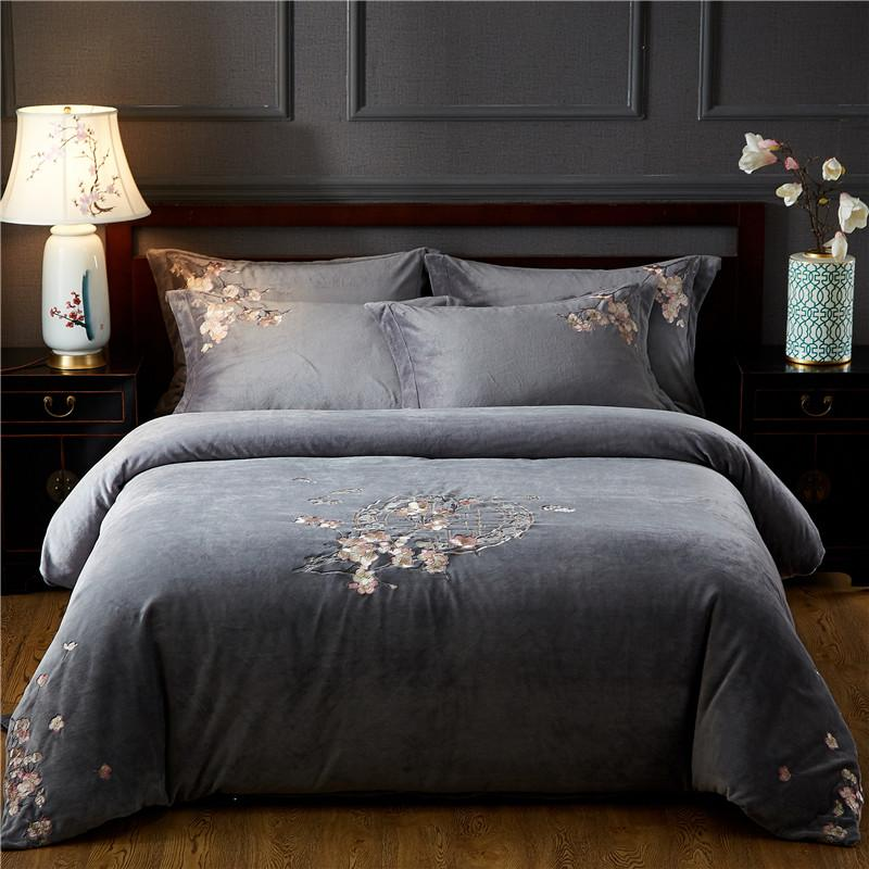 Gray Chinese Style Warm Cosy Velvet Flannel Fleece Bedding Set Flower Embroidery Duvet Cover Bed Linen Fitted Sheet Pillowcases
