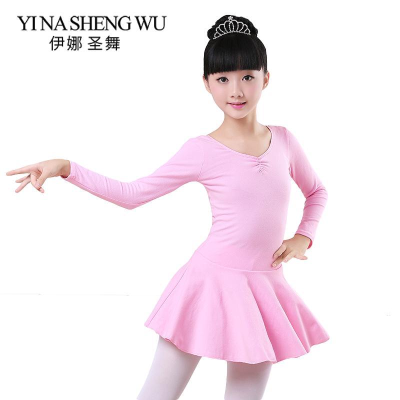 짧은 / 긴 소매 어린이 발레 댄스 연습 의상 소녀 순수한 코튼 단발 발레 댄스 복장 오픈 가능한 가랑이 순수 코튼