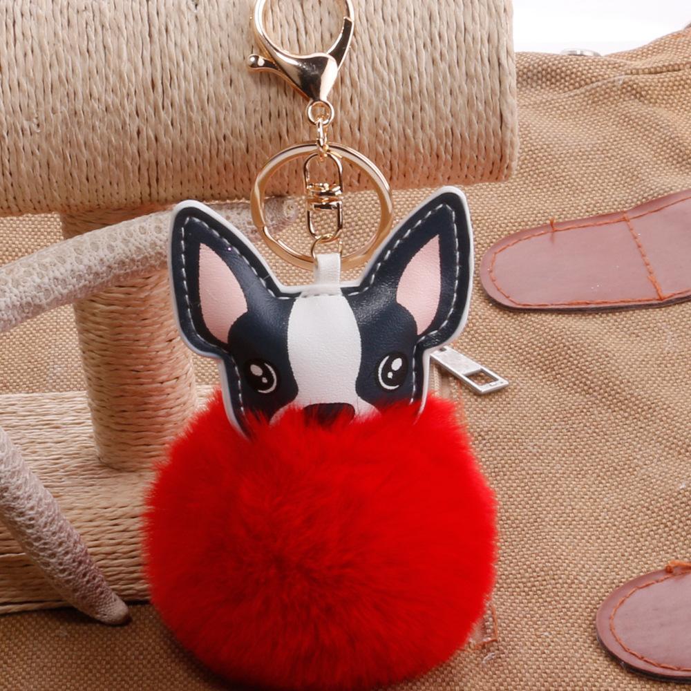 ornamenti animali chiave del sacchetto della signora anello ciondolo capelli palla ciondolo fumetto auto zodiaco cane PU palla capelli cucciolo