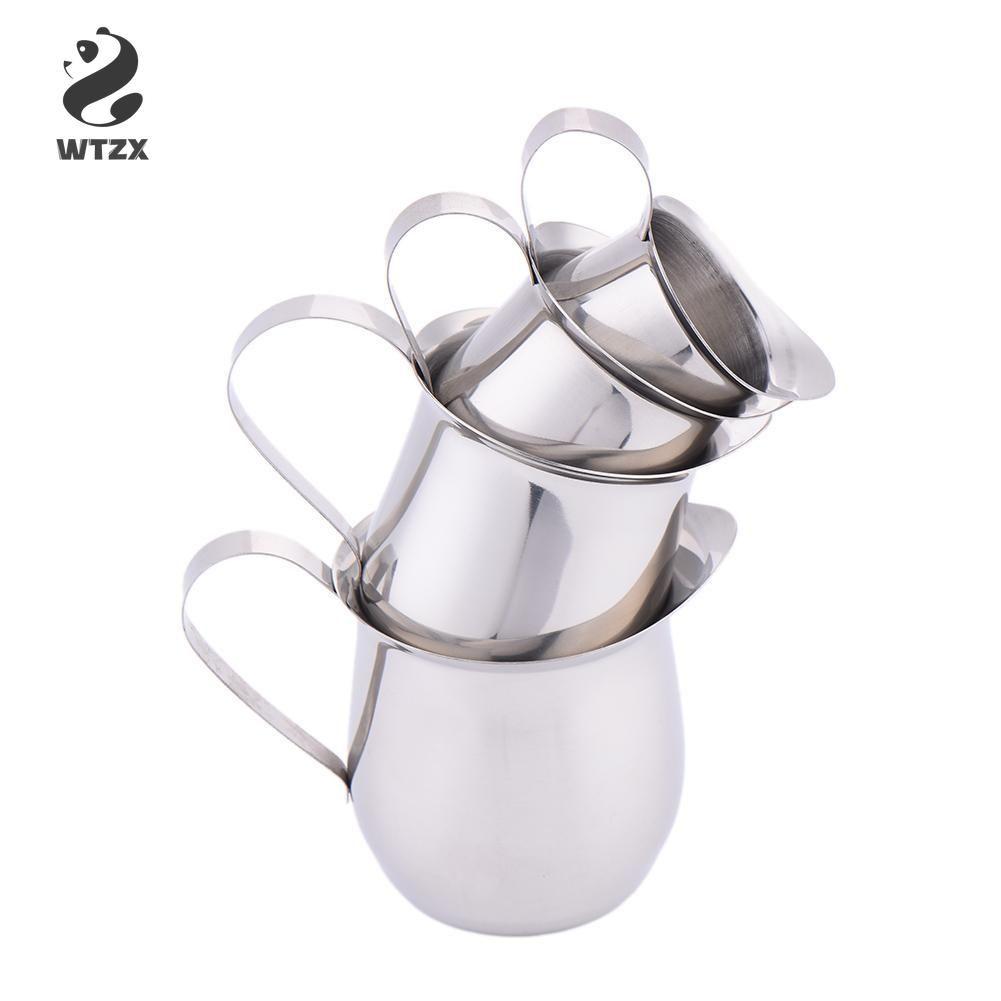 Salsa mini del acero inoxidable taza de leche condensada tazas de leche de tambor en forma de taza de leche Coffeeware jarros