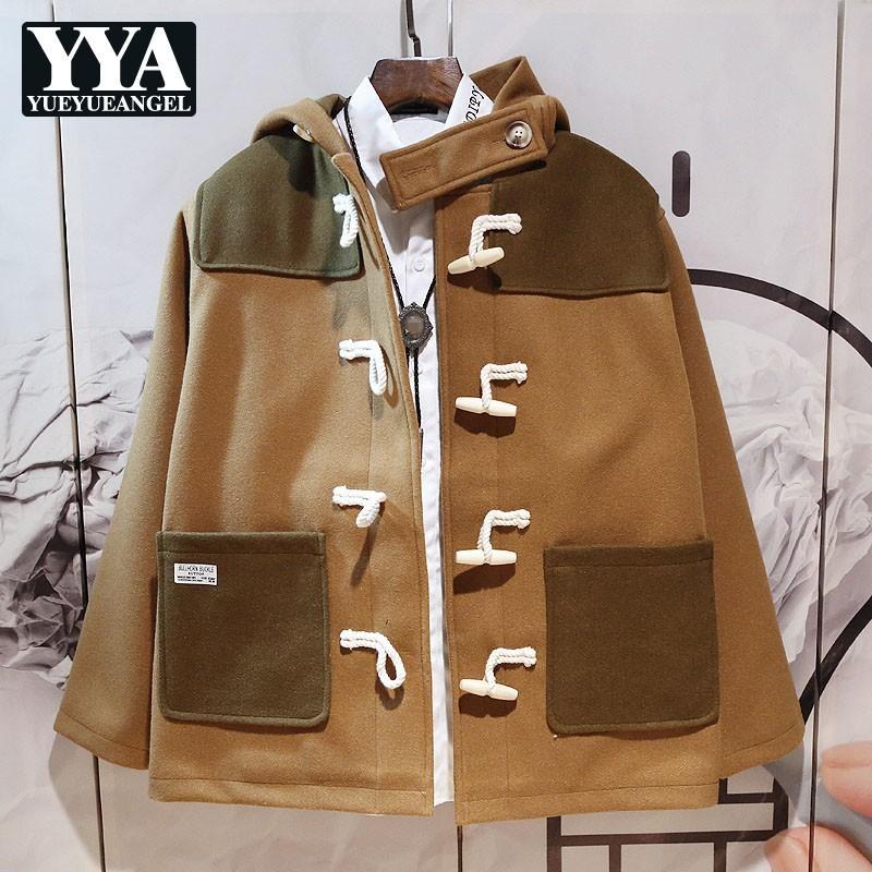 Otoño Invierno de lujo flojo Hombres chaqueta con capucha solo pecho retro caliente de la capa corta de la manera de los colores mezclados algodón abrigo del trazador de líneas
