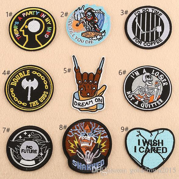 8P-70 hot sale circular cartoon embroidered Iron On Patch Applique Badge KIDS sew on patch heart finger can customer design