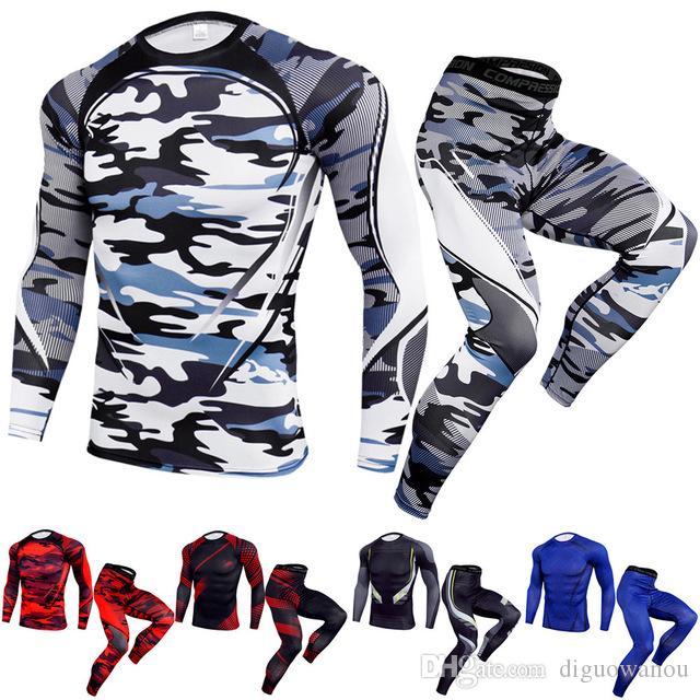Venta caliente Trajes deportivos Gimnasio al aire libre Nueva compresión Running Set Hombres Secado rápido Fitness Camiseta Pantalones Traje Jogging Chándal Camiseta de entrenamiento