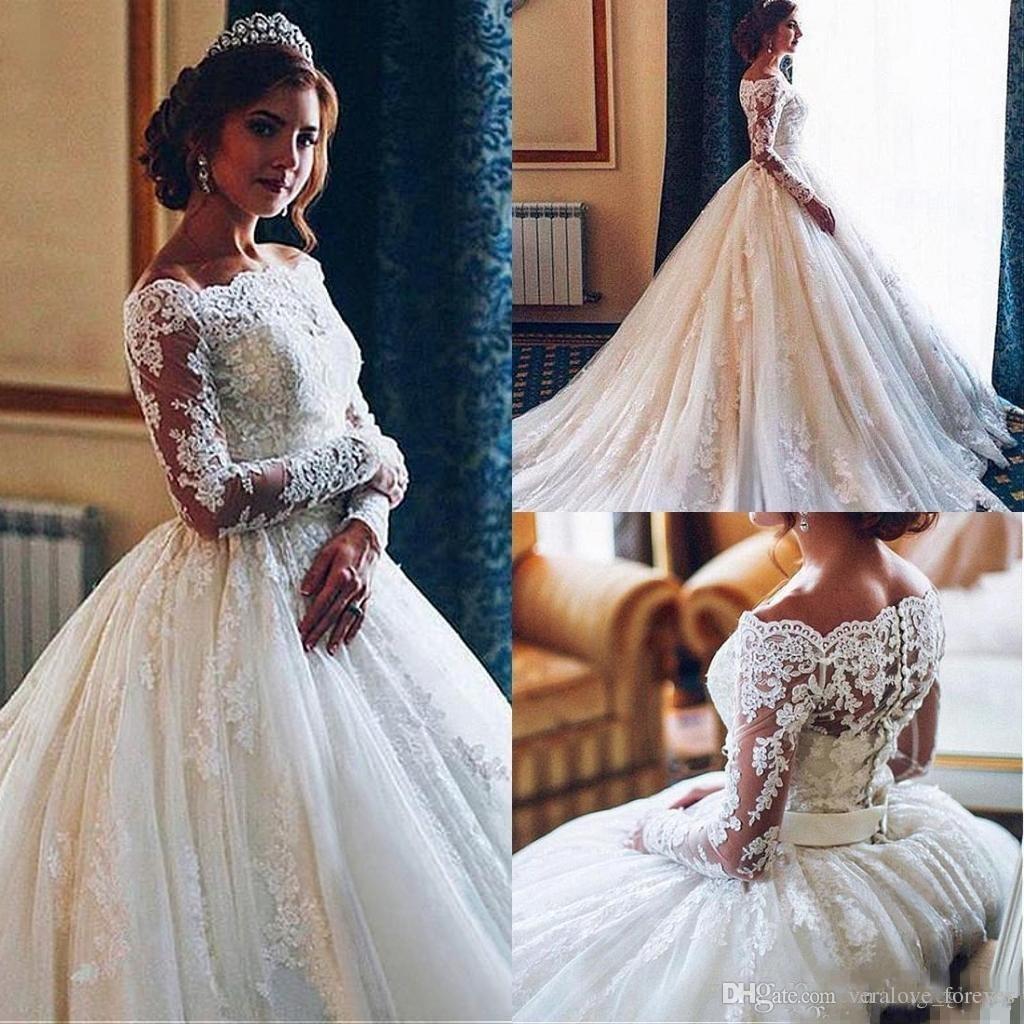 Long Sleeve Ball Gown Wedding Dresses 2019 Modest Plus Size Bateau
