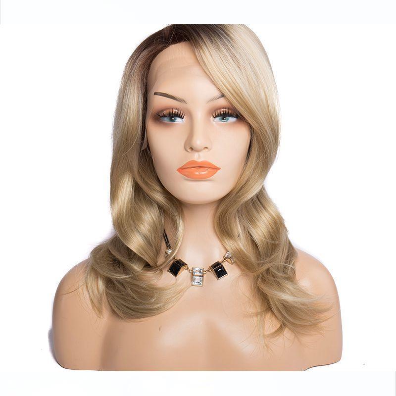 Moderne Voir foncé Cheveux blonds synthétique Lace Front Wigs vague de corps Raie sur le côté Ombre Dentelle perruques à vendre