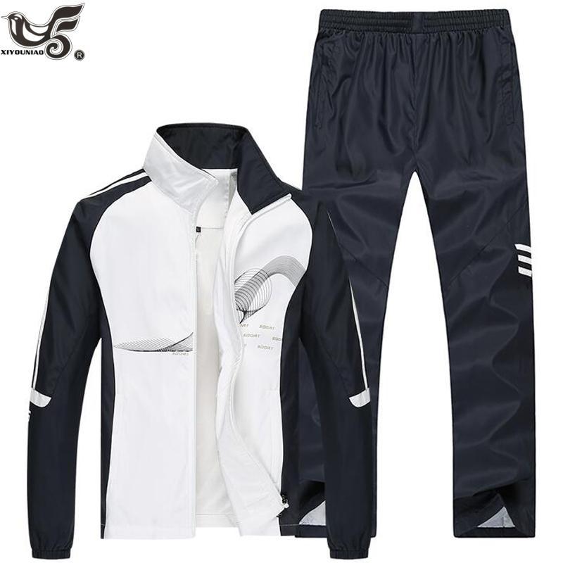 Anzug für Männer Zweiteilige Kleidung Satz-beiläufige Jacke + Pants OUTWEAR SportSuit Frühling und Herbst Sport sweatsuits Man