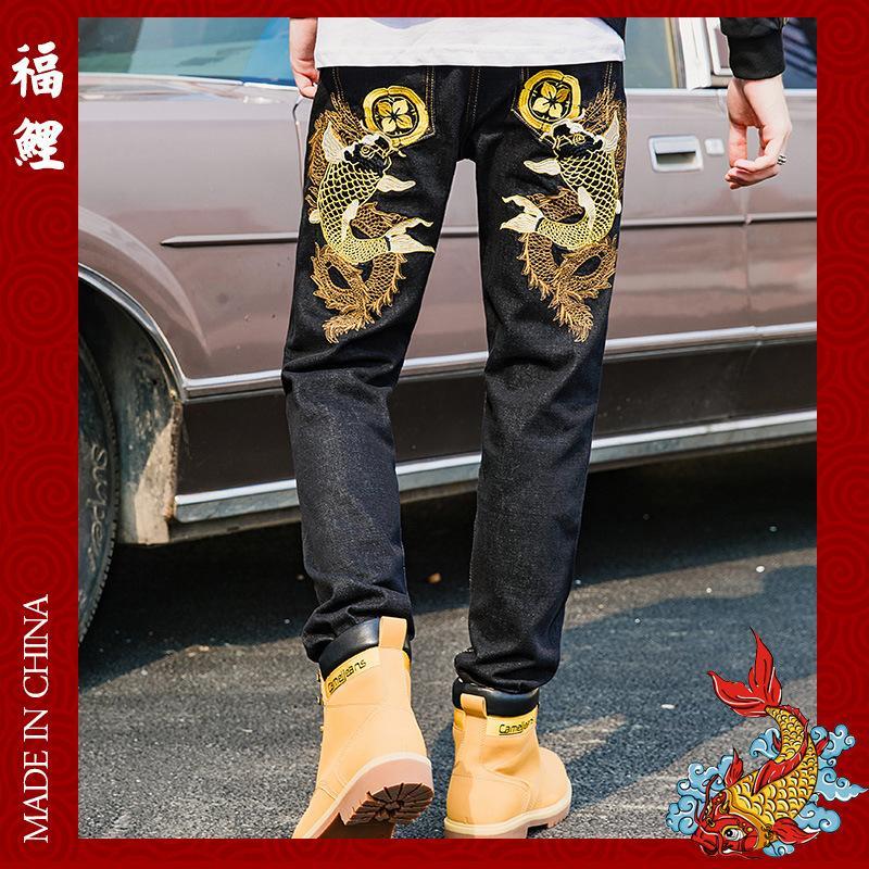 أزياء العلامة التجارية الجينز للرجال النمط الصيني شخصية الرجعية أنبوب مستقيم صغير على التوالي السراويل الساق والموضة الرجالية