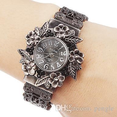 高品質のレトロなブレスレットの女性のファッションバングルクォーツの腕時計の腕時計の女性花ラウンドダイヤル魅力的なミックスカラー送料無料