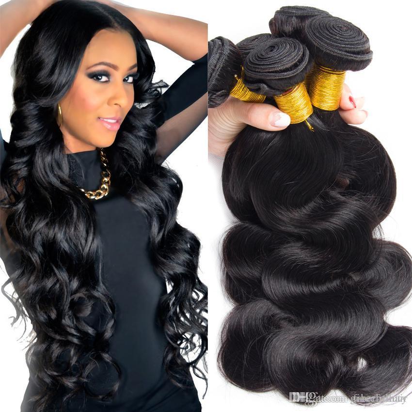 Brazilian Virgin Hair Bundles Body Wave Hair Weave Real Human Hair Extensions 4,6,8pcs/lot cmq11Cheap Natural Black Bundle 9A