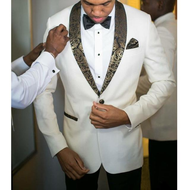 2 Pieces White Wedding Groom Tuxedos Gold Shawl Lapel Slim Fit Men Suits for Evening Prom Party Jacket Pants Male Blazer