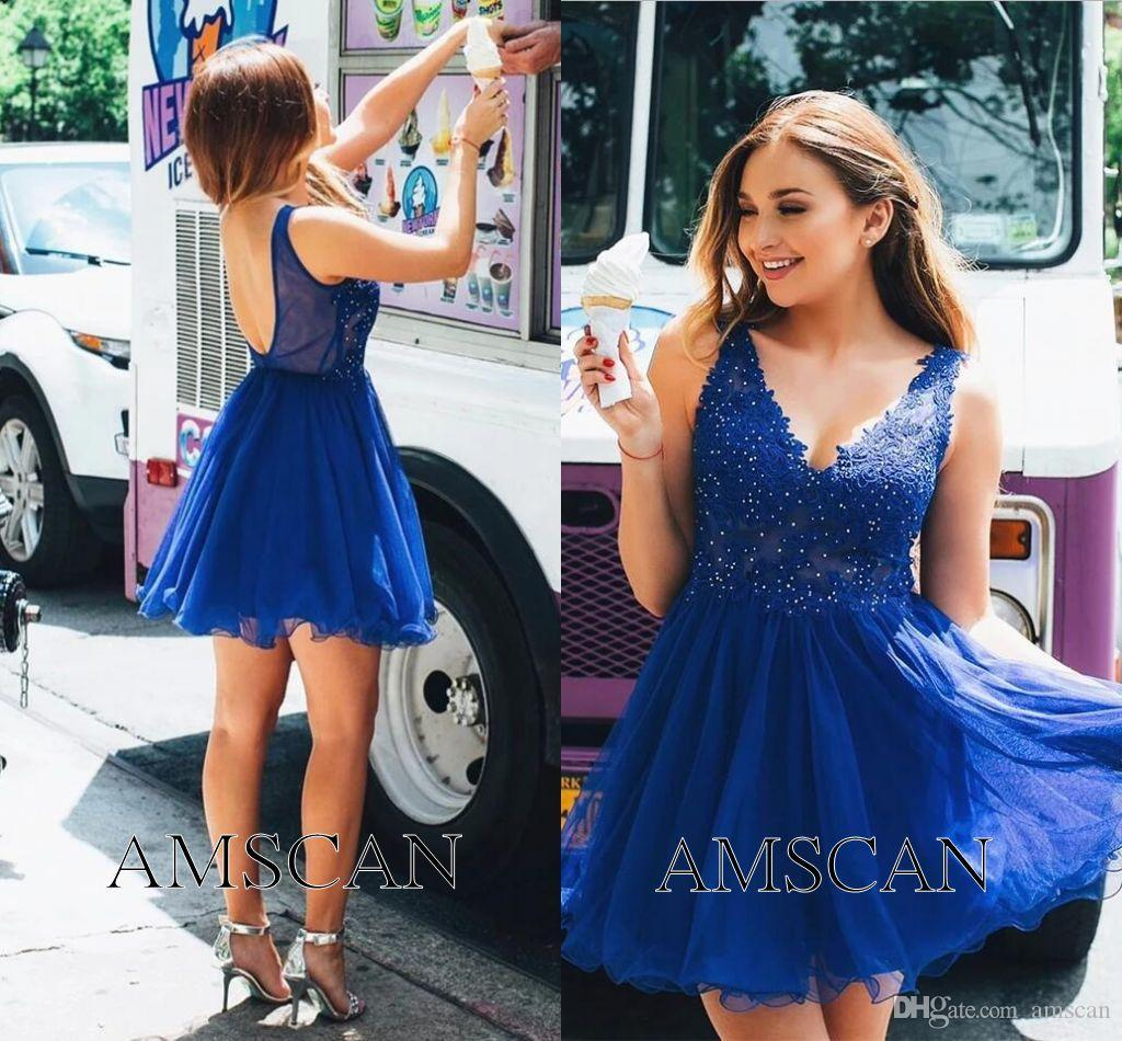 Royal Blue Backless Sexy Short Cocktail Party Dresses V Neck Appliques Lace Prom Dresses Formal Graduation Homecoming Dress Cheap Custom