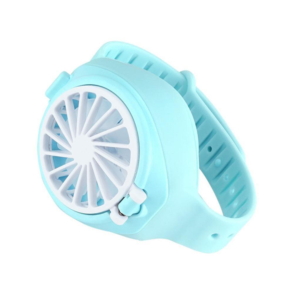 2020 NUEVA LLEGADA MINI MINI RELOJ DE RELOJ FAN Dibujos animados Forma de reloj plegable Paqueta de bolsillo USB Ventilador recargable con correa de muñeca cómoda Alta calidad