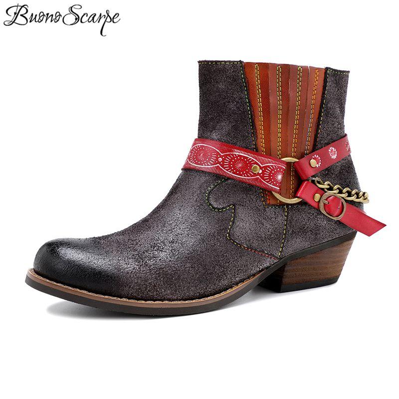 Botas de couro genuíno Chains Botas metal Curto étnico sapatos Femal ocidental Botas Mujer Bohemian