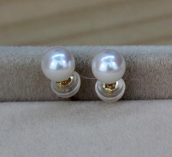 쌍 9-10mm 남해 백색 둥근 진주 장식 못 귀걸이 14k 금 부속품