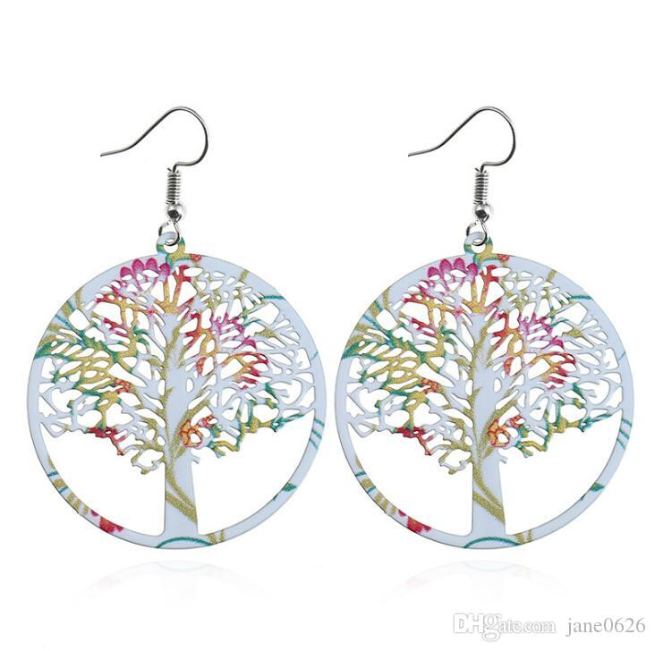 Tree of Life Earrings Stainless steel hollow Life Tree printed Earrings Women Girls Gifts Free Shipping