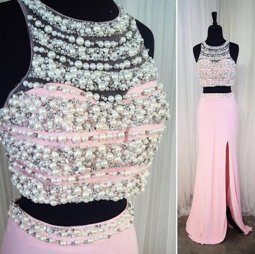 Fashion Pearls Crystal 2 Pieces Prom Evening Dress Pink Sheer Neck Real Photo Side Slit Cheap Bridesmaid Formal Pageant Dresses Cheap
