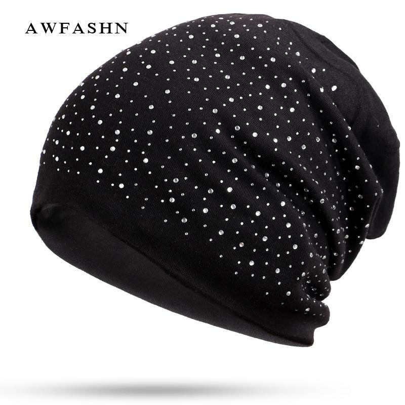 Yeni Moda Rhinestone Beanie Yüksek Kalite Bayanlar Elmas Dekoratif Şapka Kadın Kış İlkbahar Sonbahar Parlayan Kemik Pamuk Yumuşak